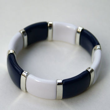 Nautical Bracelet Navy Blue and White Vintage Stretch Bangle