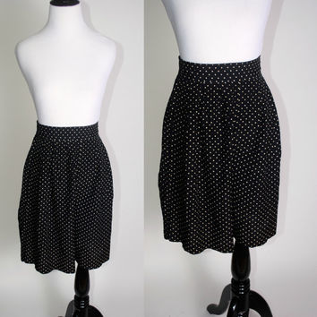 Vintage 1990s 90s Black White POLKA DOT High Waisted long RAYON Dress shorts