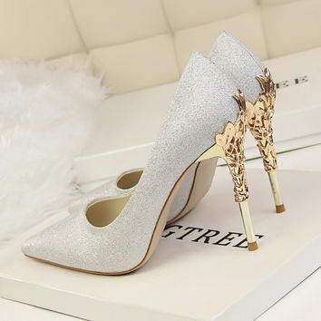 New Women Elegant Pumps European Fashion SatinThin Heels Flower Metal Heel High-heeled