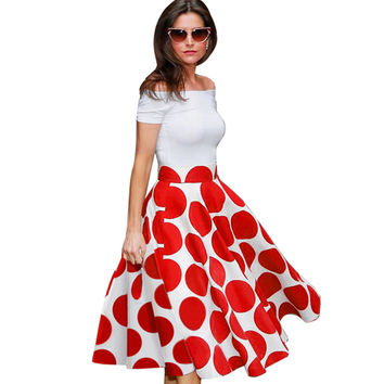 50s 60s Vintage Polka Dot Rockabilly Swing Pin Up Tunic Women Slash Neck Off The Shoulder Summer A-line Dresses A015