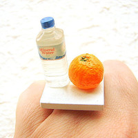 Kawaii Miniature Food Ring Water And An Orange by SouZouCreations