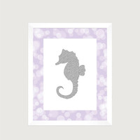 Nautical Silver Seahorse Lavender Print Nursery Decor Baby Print CUSTOMIZE YOUR COLORS 8x10 Prints Nursery Decor Art Baby Room Decor Kids