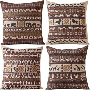 Vintage Cushion Cover Geometric Animal India Pillowcase Cotton Linen 45x45 Square Decorative Pillow Cover Home Living Decor