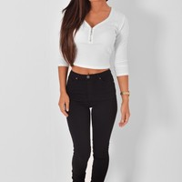 Amalia Black High Waisted Skinny Jeans | Pink Boutique