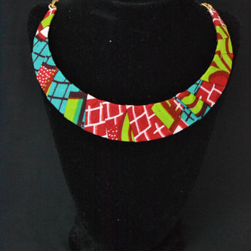 Red, Blue, and Green Ankara Necklace