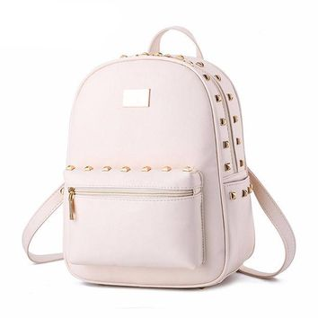 DCCKLG2 Leather Studded Zipper Backpack Handbag