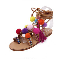 Bohemian Up Open Toe Sandals Handmade Rome gladiator sandals women Flats Fringed Fur Cross Strap Poms Woman Sandals Shoes z118