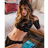 Sexy Black Lace Lingerie Sets Special Use Body Suit Nightgown Sleepwear Strapless Crop Top with Underwear Briefs