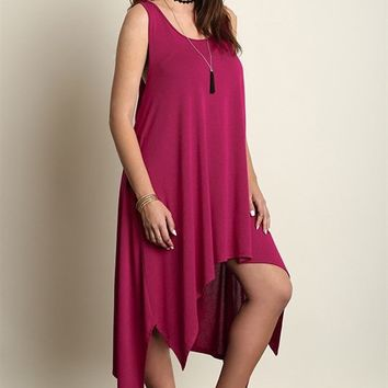 PALM DESERT ASYMMETRICAL TANK DRESS - ORCHID