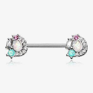 A Pair of Sparkle Opal Medley Nipple Barbell Ring