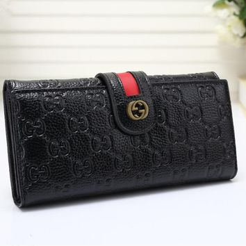 Gucci Women Purse Retro Fashion Personality Embossed Long Section Double Layer Button Flip Wallet Handbag