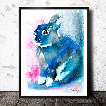 Black Rabbit watercolor painting print , animal, illustration, animal watercolor, animals paintings, animals, portrait,