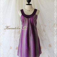 Disco Party Night - Large Size Collection Dress Scoop Halter Neckline Polka Dot Satin Purple Color Party Cocktail Night Dress Large Size