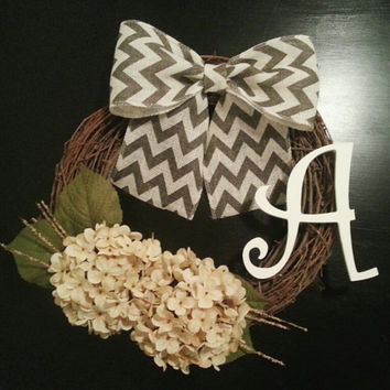 Monogram Door Wreath, Fall Wreath, Year Round Wreath with Hydrangea, White Inital and a Chevron Burlal Bow