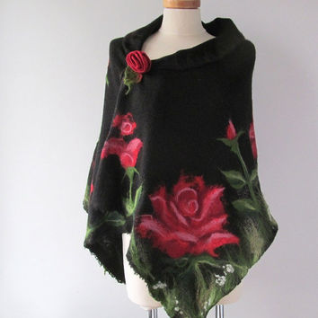 Black knit scarf  jersey felted aplication Rose  flower