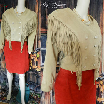 Vintage Beige Tan Suede Leather Long Fringe Jacket, Size XS/S Western Boho Cropped Suede Jacket, Leather Jacket Size 4