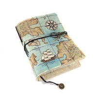 Map, Handmade journal, Travel journal, Notebook, Diary