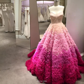 Sweetheart Floral Ruffles Rainbow Off-Shoulder Floor-Length Wedding Dress