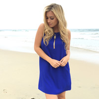 Out of Frame Shift Dress In Royal Blue