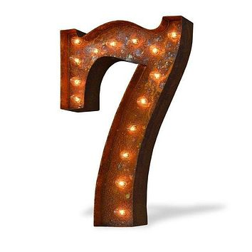 "24"" Number 7 (Seven) Sign Vintage Marquee Lights"