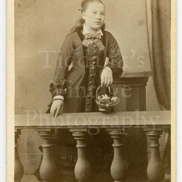 CDV Carte de Visite Photo Victorian Young Pretty Girl Holding Basket of Flowers by Bosworth of Rugeley England