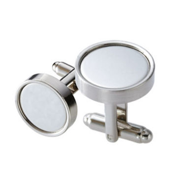 MG Gifts - Metal Cufflinks W/ A Pair (Brush Finish Nickel) With Chrome Plated Plate & In Black Gift Box
