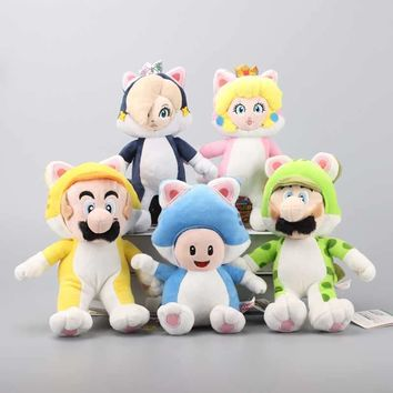 Super Mario party nes switch Anime 5 Styles  3D World Princess Peach & Rosalina Blue Cat Toad Yellow Cat Plush Soft Toys Stuffed Dolls 18-24 cm AT_80_8