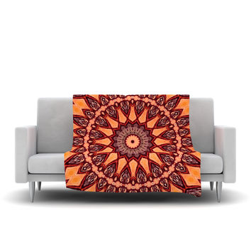 "Iris Lehnhardt ""Colors of Africa"" Brown Orange Fleece Throw Blanket"