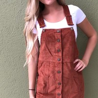 Cute As A Button Overall Dress - Rust