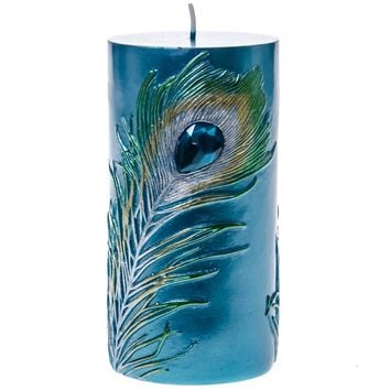 Embossed Peacock Feather Pillar Candle - 6""