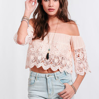 Westwood Off-Shoulder Lace Crop Top