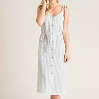Anne Cream Striped Ribbon Tie Midi Dress