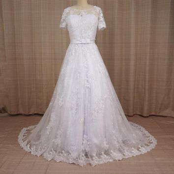 Two Piece Wedding Dresses A line Short Sleeve Lace Bolero Jacket Bridal Gown