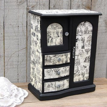 Black Toile Jewelry Box, French, Armoire, Decoupage, Upcycled