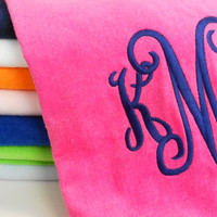 Monogrammed Beach Towel with LARGE Interlocking Monogram