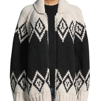 Marc Jacobs Zip-Front Oversized Wool Intarsia Sweater
