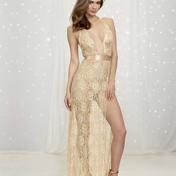 Plunging Lace Halter Gown