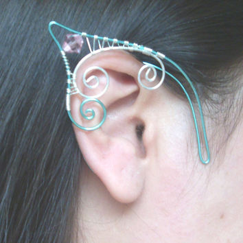 Seafoam Green & Silver Plated Handmade Wire Wrapped Elf Ear Cuffs With Pink Swarovski Elements. Wire Weave, LARP, Fantasy Wedding, Cosplay
