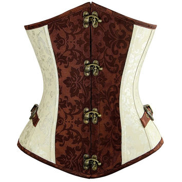 Women Steampunk Gothic Overbust Corset Sexy Brown and Lvory Underbust Goth Buckle Flowers Pattern Clothing Plus Size Corsets