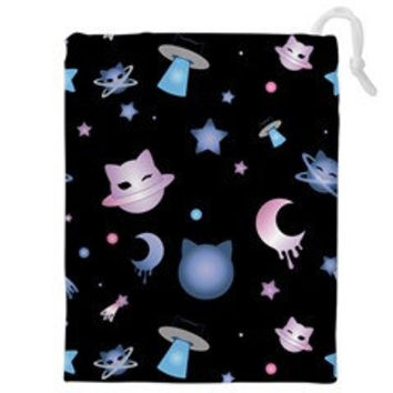 Kawaii Cute Harajuku Cat Neko Star Moon Planet Space Galaxy Anime Manga Pastel Goth Soft Grunge Uchuu Pencil Make Up Drawstring Bag Pouch