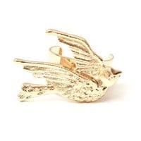 Little Sparrow Ear Cuff Metal Wrap Bird Gold Tone Dove Earring Swallow Animal Fashion Jewelry