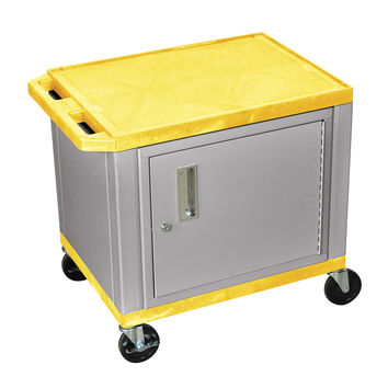 H. Wilson Mobile Multipurpose Storage Tuffy Utility Cart Lockable Cabinet Push Handle No Electric Yellow Nickel Legs