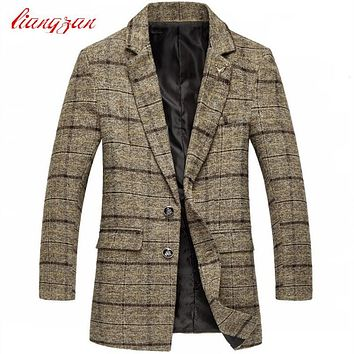 Men Woolen Coats Autumn Medium-long New Arrival Plaid Overcoats Brand Design Plus Size M-5XL Slim Fit Fashion Wool Coats F2325