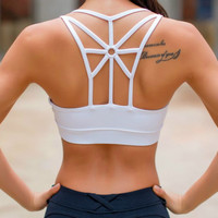 Summer Trending Women Sexy Personality Bra Underwear Back Cross Yoga Gym Running Fitness Underwear Bra Sports Bra White