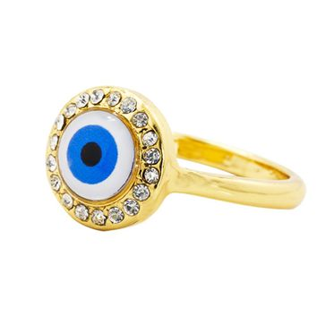 18k Gold Plated Clear Crystal Turkish Nazar Greek Evil Eye Ring