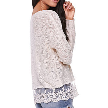 LA Hearts Lace Hem Slub Pullover Sweater at PacSun.com