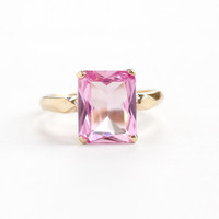 Vintage 10k Yellow Gold Created Pink Sapphire Ring - 1940s Size 5 1/2 Emerald Cut Light Pink Stone Fine Jewelry Hallmarked B&F  Baden Foss