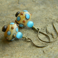 Unique earrings blue and brown lampworked by SongbirdCabinDesigns