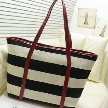 Women's Jet Set Travel Striped Saffiano Tote