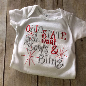 Girls Ohio State girls like bows and bling bodysuit or t shirt